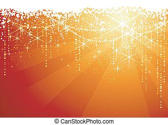 dorato, grande, occasions., fondo, festivo, astratto, sfavillante, fondo., stelle, natale, rosso