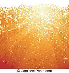 dorato, grande, occasions., stelle, festivo, sfavillante, anni, fondo., fondo, neaw, o, rosso, natale