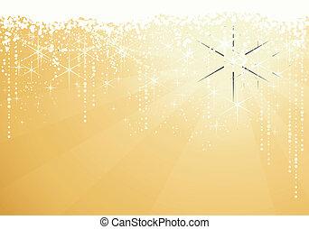 dorato, grande, occasions., stelle, festivo, sfavillante, anni, fondo., fondo, nuovo, o, natale