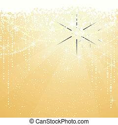dorato, grande, occasions., stelle, festivo, sfavillante, anni, fondo., fondo, nuovo, o, speciale, natale