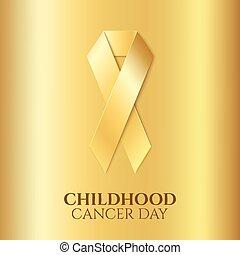 dorato, infanzia, cancro, ribbon.