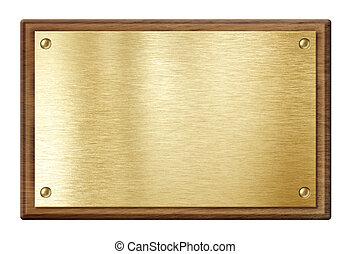 dorato, legno, isolato, cornice, bianco, nameboard, piastra, o