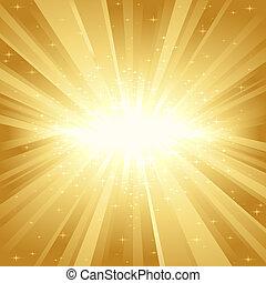 dorato, luce, stelle, scoppio