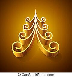dorato, lucente, albero, natale, 3d