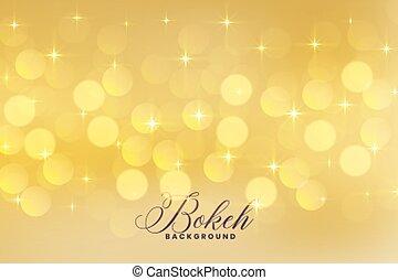 dorato, luci colore, bokeh, stelle, bello