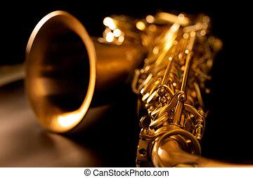 dorato, macro, fuoco, selettivo, sassofono, sax tenore