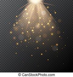 dorato, magia, effect., luce, bokeh, vettore, trasparente, splendore