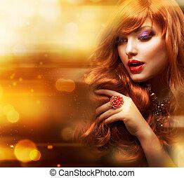 dorato, moda, capelli, ondulato, portrait., ragazza, rosso