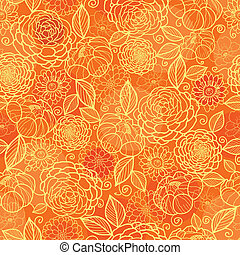 dorato, modello, seamless, struttura, sfondo arancia, floreale
