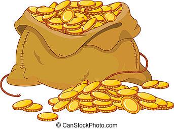 dorato, moneta, pieno, borsa