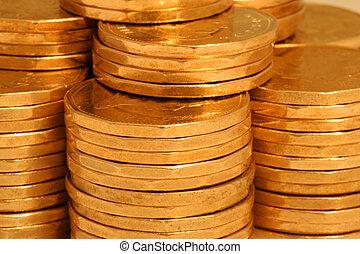 dorato, monete, lato