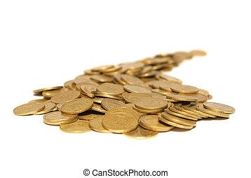 dorato, monete, strada