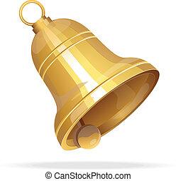 dorato, natale bianco, fondo, campana