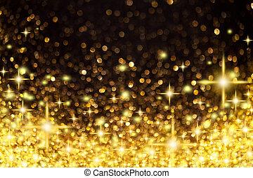 dorato, natale, fondo, stelle, luci