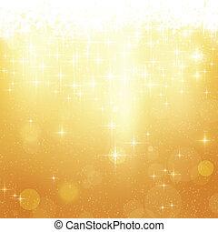 dorato, natale, stelle, fondo, luci
