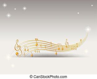 dorato, note, disegno, musicale, fondo
