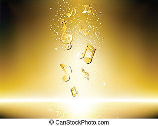 dorato, note, musica, fondo, stars.