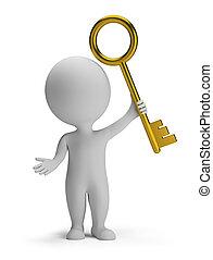 dorato, persone, -, chiave, piccolo, 3d