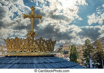 dorato, pirenei, francia, hautes, croce, corona, lourdes