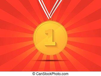 dorato, posto, fondo, medaglia, rosso, primo