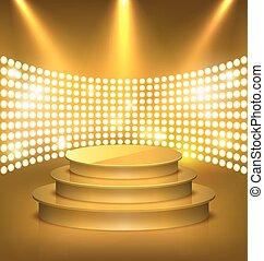 dorato, premio, illuminato, oro, festivo, luci punto, podio, palcoscenico