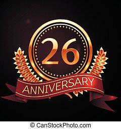 dorato, ribbon., venti, sei, anniversario, anni, anello, celebrazione