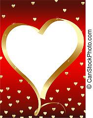 dorato, rosso, copyspace, heart-frame