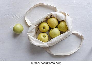 dorato, sacchetto spesa, stoffa, mele, fresco