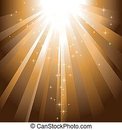 dorato, scoppio, luce, sfavillante, discendere, stelle