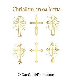 dorato, set, cristiano, croce, icone