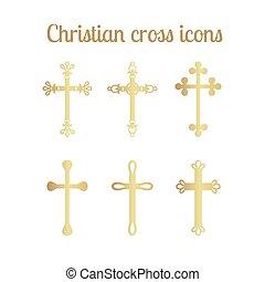 dorato, set, croce, icone