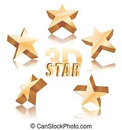 dorato, set, illustrazione, fondo., vettore, stelle, bianco, 3d
