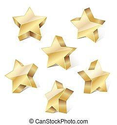 dorato, set, illustrazione, metallico, fondo., vettore, stelle, bianco