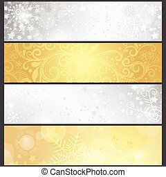 dorato, set, inverno, pendenza, argenteo, bandiere