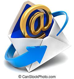 dorato, simbolo, busta, posta elettronica, posta, viene, fuori