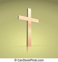 dorato, simbolo, cristiano, croce