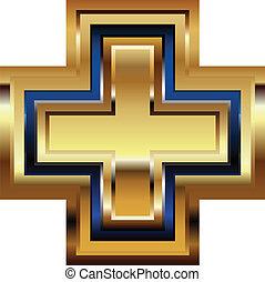 dorato, simbolo, croce