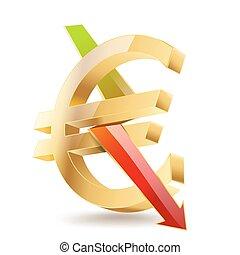 dorato, simbolo, segno, freccia, cadere, euro