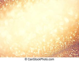 dorato, stelle, astratto, lampeggiamento, defocused, fondo
