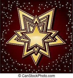 dorato, stelle, fondo, marrone