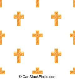 dorato, stile, illustration., simbolo, cross., singolo, vettore, icona, pasqua, cartone animato, casato