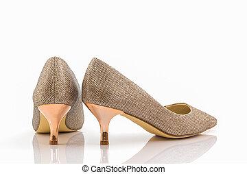 dorato, tallone, scarpe, alto