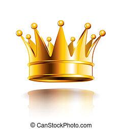 dorato, vettore, corona, lucido, illustrazione