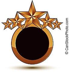 dorato, vettore, emblema, classico, chiaro, isolato, eps, fondo., aristocratico, stelle, 8., bianco