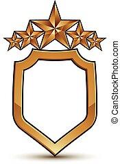 dorato, vettore, festivo, affascinante, chiaro, stelle, isolato, insignia., bianco, stilizzato, eps, stella, simbolo, 8, cinque, fondo.