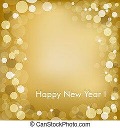 dorato, vettore, fondo, anno, nuovo, felice