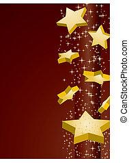 dorato, vettore, marrone, illustrazione, fondo, stelle, riprese