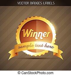 dorato, vincitore, etichetta