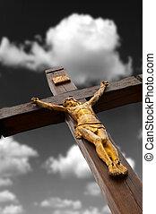 doratura, crocifissione, albero, figura, jesus's