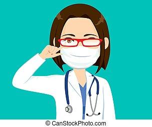 dottore, bicchieri pulizia, nebbia, femmina
